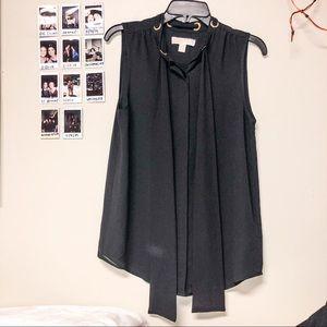 micheal kors | black tie neck button up blouse